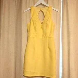 Pastel yellow mini dress
